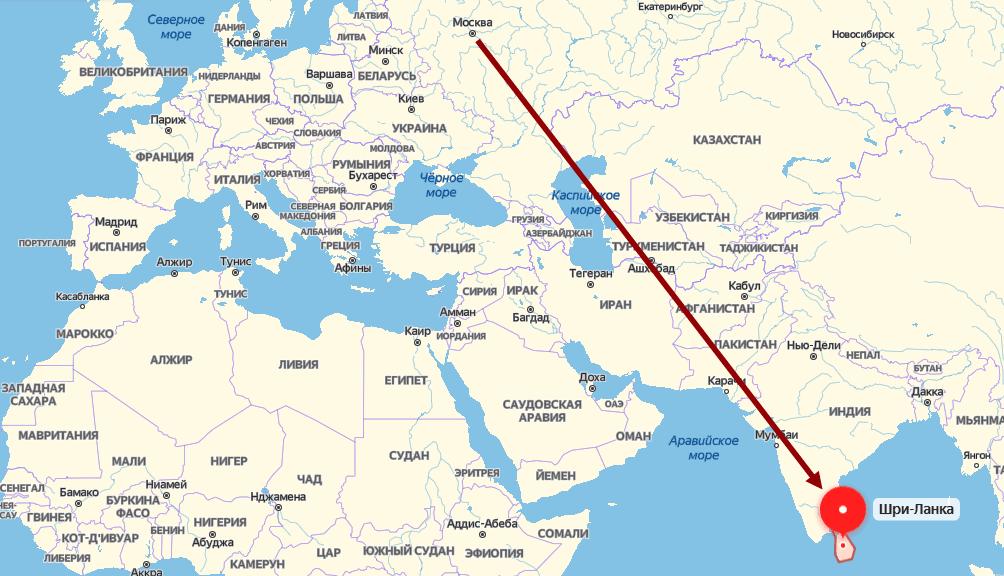 Расположение Шри-Ланки на карте