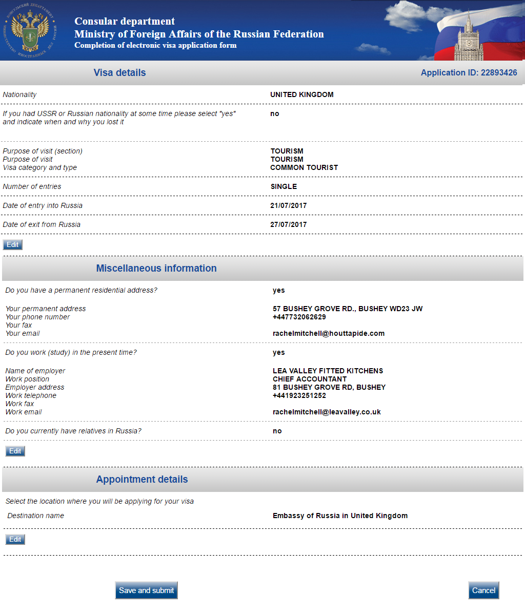 Consular visa application: check the data entered