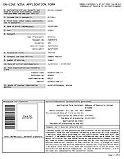 Consular formulario de solicitud de visa: captura de pantalla del formulario de ejemplo - versión mini